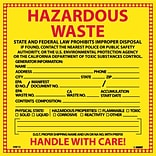 Hazard Labels; Hazardous Waste California, 6X6, Adhesive Vinyl, 25/Pk