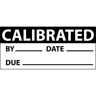 Inspection Labels; Calibrated, Blk/Wht, 1X2 1/4, Adhesive Vinyl (27 Labels)