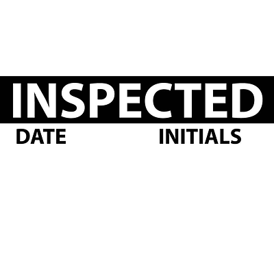 Inspection Labels; Inspected, Blk/Wht, 1X2 1/4, Adhesive Vinyl (27 Labels)