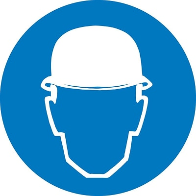 Information Labels; Graphic For Wear Head Protection, 2In Dia, Adhesive Vinyl