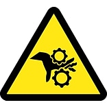 Hazard Labels; Graphic For Gear Entanglement Hazard, 2In Dia, Adhesive Vinyl