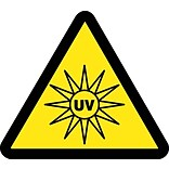 Hazard Labels; Graphic For Uv Hazard, 2In Dia, Adhesive Vinyl