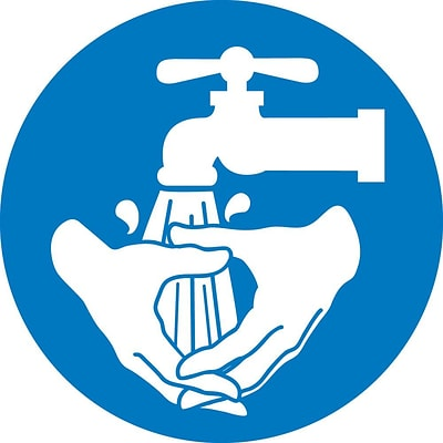 Information Labels; Graphic For Wash Hands, 4In Dia, Adhesive Vinyl