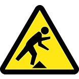 Hazard Labels; Graphic For Tripping Hazard, 4In Dia, Adhesive Vinyl