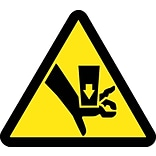 Hazard Labels; Graphic For Crush Hazard 4In Dia, Adhesive Vinyl