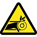 Hazard Labels; Graphic For Belt Drive Entanglement Hazard, 4In Dia, Adhesive Vinyl