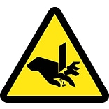 Hazard Labels; Graphic For Cut Or Sever Hazard, 4In Dia, Adhesive Vinyl