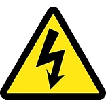 Hazard Labels; Graphic For Electric Voltage Hazard, 4In Dia, Adhesive Vinyl