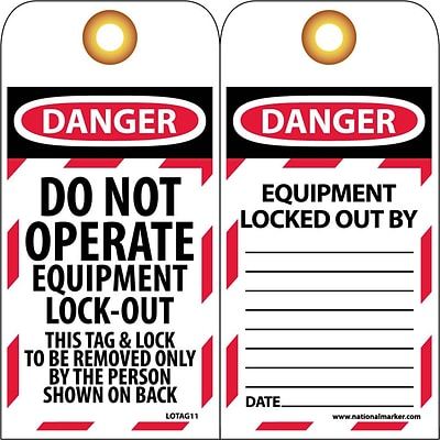 Lockout Tags; Lockout, Danger Do Not Operate Equipement Lock-Out. . ., 6X3, Unrippable Vinyl