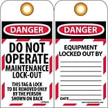 Lockout Tags; Lockout, Danger, Do Not Operate Maintenance Lock-Out, 6X3