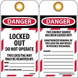 Tag; Danger, Locked Out,Do Not Operate, 6X3 1/4, Unrippable Vinyl, 25/Pk