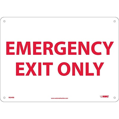 Notice Signs; Emergency Exit Only, 10X14, Rigid Plastic