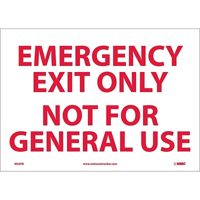 Information Labels; Emergency Exit Only Not For General Use, 10X14, Adhesive Vinyl
