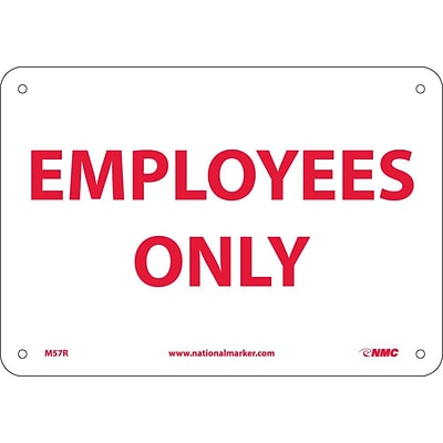 Notice Signs; Employees Only, 7X10, Rigid Plastic