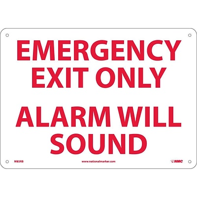 Notice Signs; Emergency Exit Only Alarm Will Sound, 10X14, Rigid Plastic
