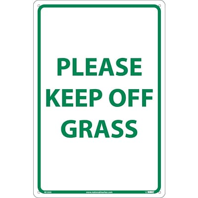 Notice Signs; Please Keep Off Grass, Green On White, 18X12, .040 Aluminum