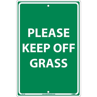 Notice Signs; Please Keep Off Grass, White On Green, 18X12, Rigid Plastic