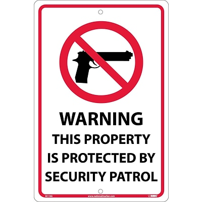 Warning This Property Is Protected By Security Patrol, Graphic, 18X12, .040 Aluminum