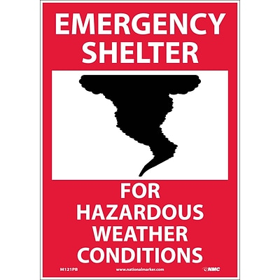 Emergency Shelter For Hazardous Weather Conditions; Graphic, 14X10, Adhesive Vinyl