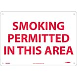 Information Signs; Smoking Permitted In This Area, 10X14, Rigid Plastic