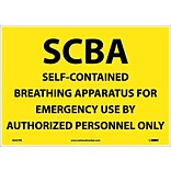 Information Labels; Scba Self Contained Breathing Apparatus, 10X14, Adhesive Vinyl