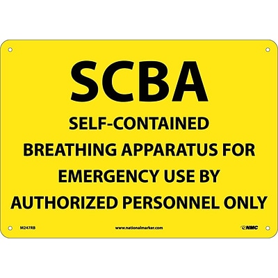 Notice Signs; Scba Self-Contained Breathing Apparatus, 10X14, Rigid Plastic