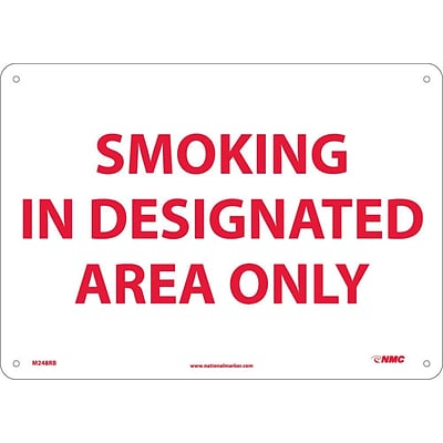 Information Signs; Smoking In Designated Area Only, 10X14, Rigid Plastic