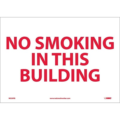 Information Labels; No Smoking In This Building, 10X14, Adhesive Vinyl