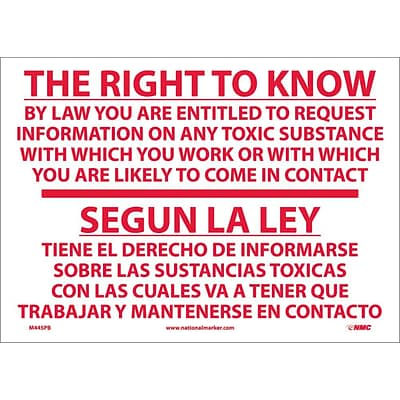 Information Labels; The Right To Know By Law Etc. Segun La L (Bilingual), 10X14, Adhesive Vinyl