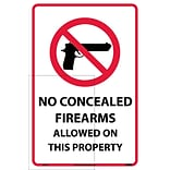 Information Labels; No Concealed Firearms Allowed On This Property, 18X12, Adhesive Vinyl