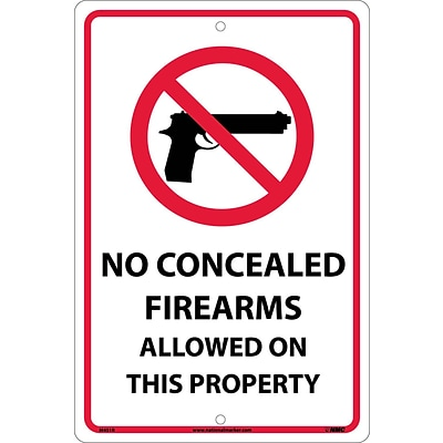 Notice Signs; No Concealed Firearms Allowed On This Property, 18X12, Rigid Plastic
