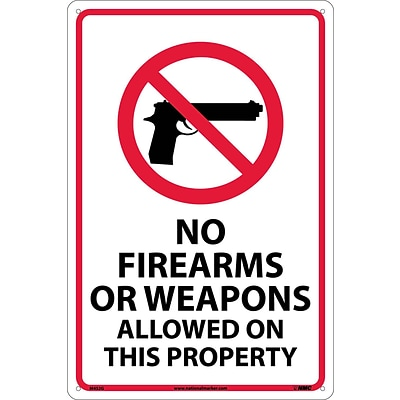 Notice Signs; No Firearms Or Weapons Allowed On This Property, 18X12, .040 Aluminum