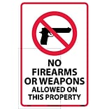Information Labels; No Firearms Or Weapons Allowed On This Property, 18X12, Adhesive Vinyl