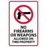 Notice Signs; No Firearms Or Weapons Allowed On This Property, 18X12, Rigid Plastic
