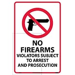 Information Labels; No Firearms Violators Subject To Arrest.., 18X12, Adhesive Vinyl