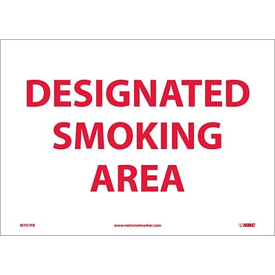 Information Labels; Designated Smoking Area, 10X14, Adhesive Vinyl