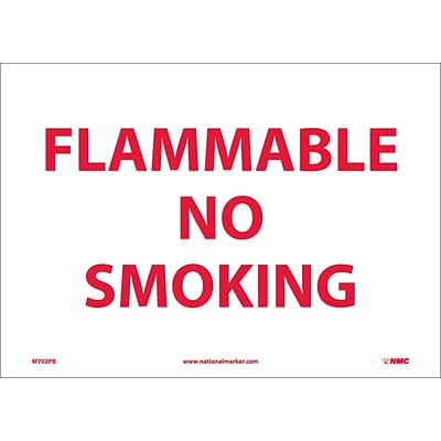 Information Labels; Flammable No Smoking, 10X14, Adhesive Vinyl