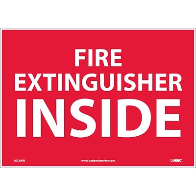 Information Labels; Fire Extinguisher Inside, 10X14, Adhesive Vinyl