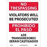 Information Labels; No Trespassing Violators Will Be Prosecuted, Bilingual, 14X10, Adhesive Vinyl