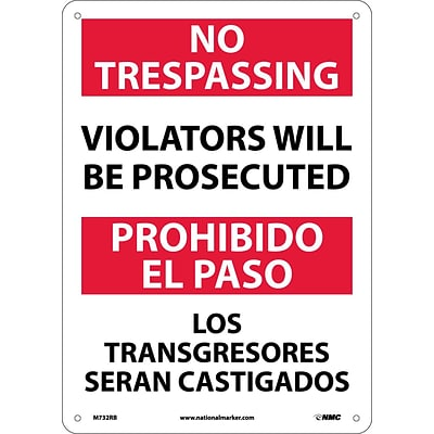 Notice Signs; No Trespassing Violators Will Be Prosecuted, Bilingual, 14X10, Rigid Plastic