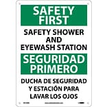 Notice Signs; Safety First Safety Shower And Eyewash Station, Bilingual, 14X10, Rigid Plastic