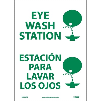 Information Labels; Eye Wash Station (Graphic), Bilingual, 14X10, Adhesive Vinyl
