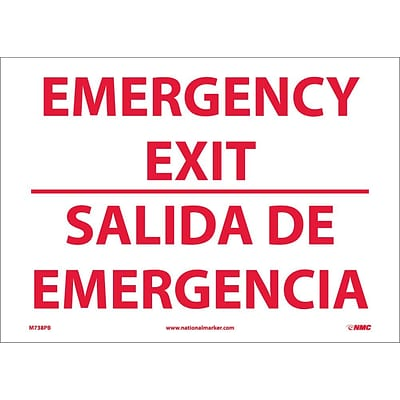 Information Labels; Emergency Exit, Bilingual, 10X14, Adhesive Vinyl