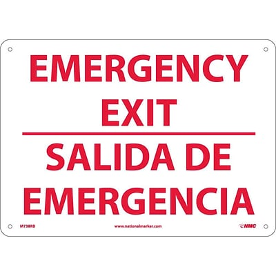 Notice Signs; Emergency Exit, Bilingual, 10X14, Rigid Plastic