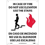 Notice Signs; In Case Of Fire Do Not Use Elevator Use Stairs Graphic, Bilingual 14X10, Rigid Plastic