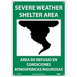 Notice Signs; Severe Weather Shelter Area (Graphic), Bilingual, 14X10, Rigid Plastic