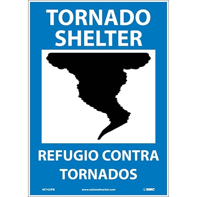 Information Labels; Tornado Shelter (Graphic), Bilingual, 14X10, Adhesive Vinyl