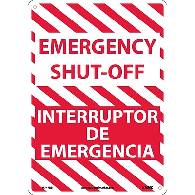 Emergency Shut-Off, Bilingual, 14X10, Rigid Plastic, Notice Sign