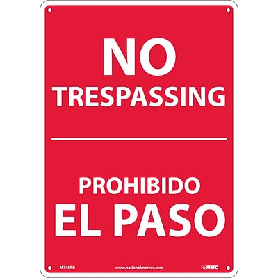 Notice Signs; No Trespassing, Bilingual, 14X10, Rigid Plastic