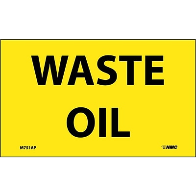 Information Labels;Waste Oil; 3X5, Adhesive Vinyl 5/Pk
